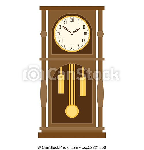 Vintage grandfather Pendulum Clock Vector Illustration with roman number,  flat design