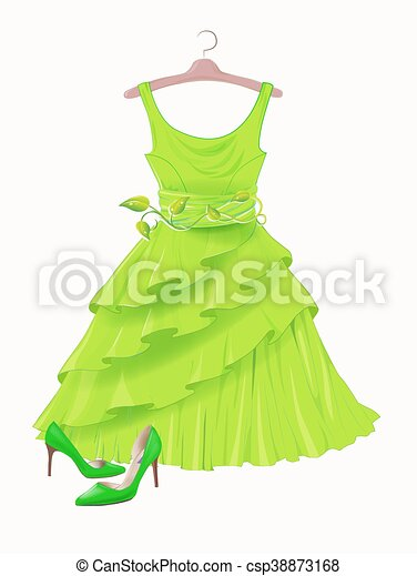 good selling buy good latest Vintage green silk dress and high-heeled shoes. Dress and shoes for party.  Festive women's attire and accessories. Fashion cocktail dress on the ...