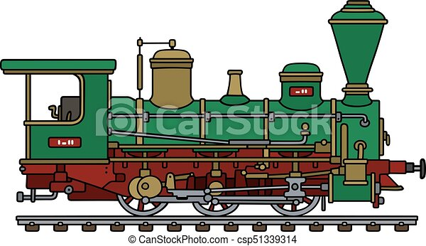 hand drawing of a vintage green steam locomotive vector clip art rh canstockphoto com steam locomotive clipart locomotive train clipart