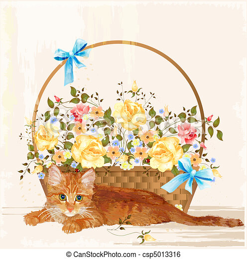 Vintage greeting card with ginger kitten and basket vintage greeting card with ginger kitten and basket csp5013316 m4hsunfo