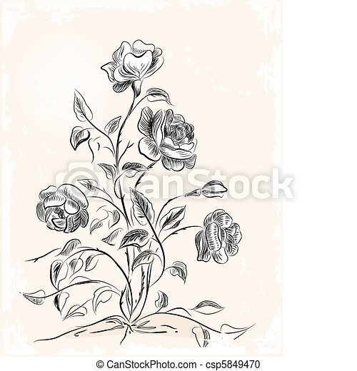 vintage greeting card with roses - csp5849470