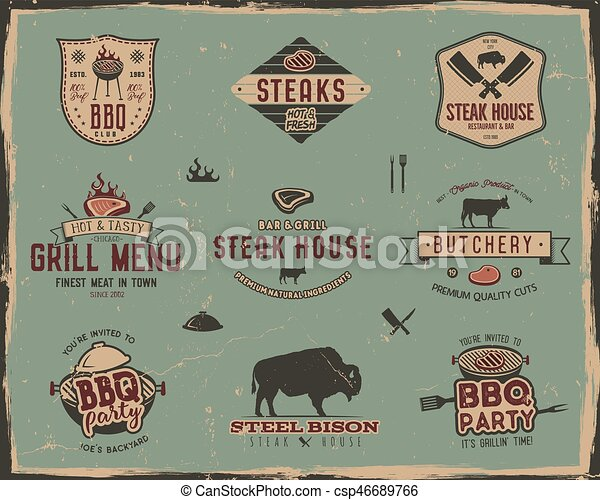 Vintage grill and steak house logo templates. Retro colors bbq, grill party badges, stamps and labels set. Symbols of grilled meat, tools. Isolated on old style background. Vector pathces, insgnias - csp46689766