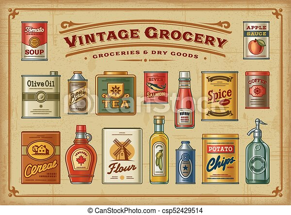 Vintage Grocery Set A Set Of Vintage Groceries In Retro Woodcut Style Eps10 Vector Illustration With Transparency