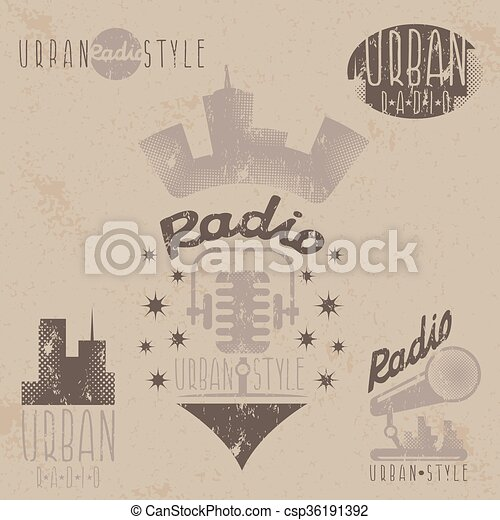 vintage grunge labels of urban radio with microphone and headphones - csp36191392