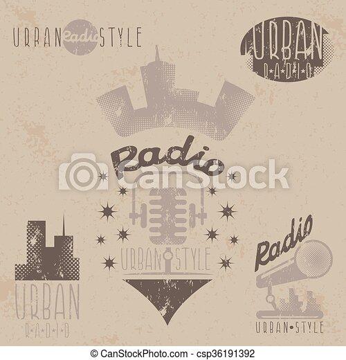 vintage grunge labels of urban radio with microphone and headphones - csp36191392