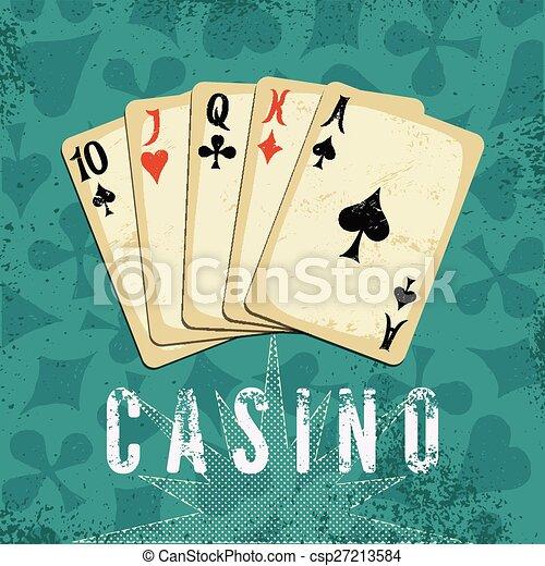 Vintage grunge style casino poster. - csp27213584
