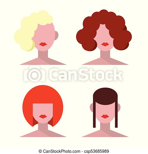 Vintage Hairstyle1 Vector Female Hairstyle Illustration Flat