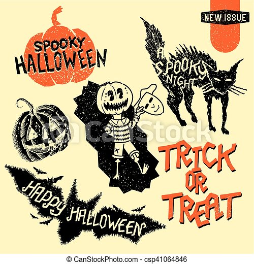 Retro Vintage Halloween Clip Art.Vintage Halloween Design Elements