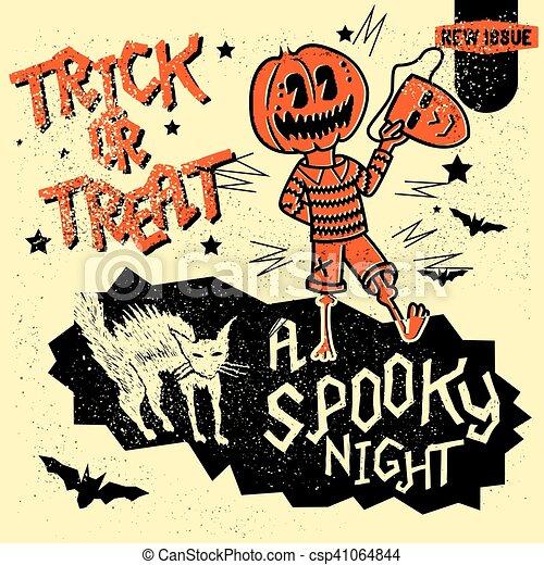 Retro Vintage Halloween Clip Art.Vintage Halloween Elements