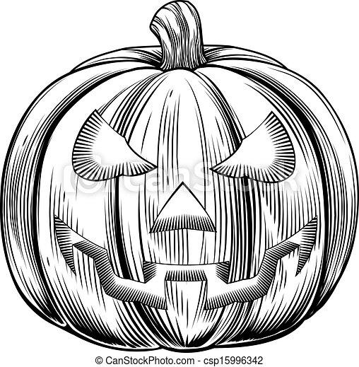 Retro Vintage Halloween Clip Art.Vintage Halloween Pumpkin