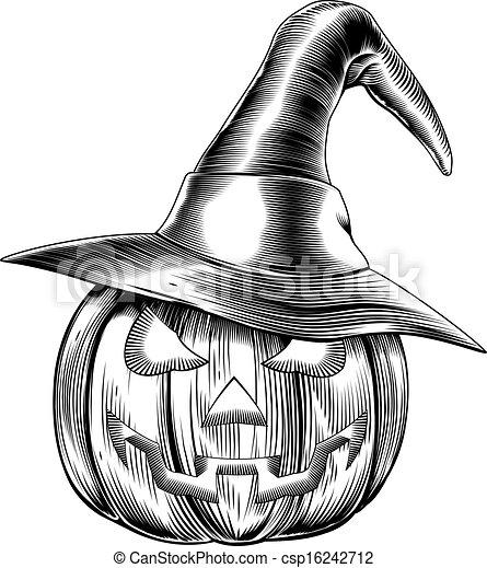 Retro Vintage Halloween Clip Art.Vintage Halloween Witch Pumpkin