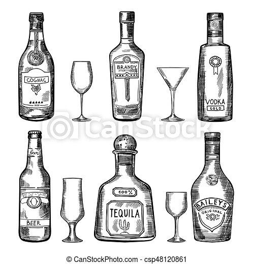 Vintage Hand Drawing Different Bottles Vector Illustration Set