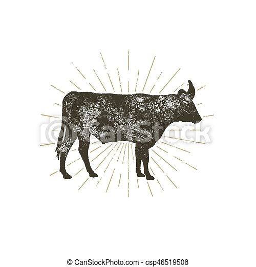 Vintage Hand Drawn Cow Icon Farm Animal Silhouette Shape Retro Black Style With Sunbursts