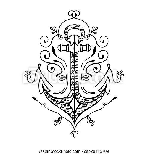 Vintage Hand Drawn Flourish Anchor Illustration