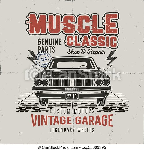 Vintage Hand Drawn Muscle Car T Shirt Design Classic Car Poster