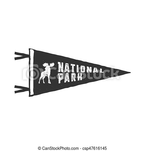 Vintage Hand Drawn Pennant Template Camping Sign Retro Textured Letterpress Effect Outdoor Adventure Style Vector Isolated On White Background