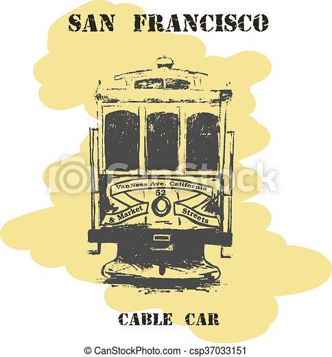 Vintage hand drawn San Francisco cable car. - csp37033151
