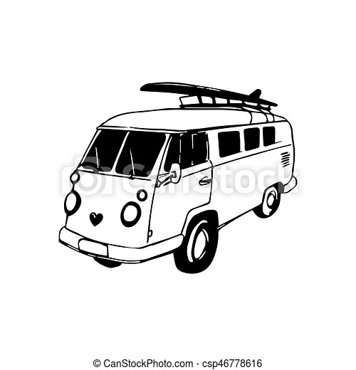 vintage hand drawn surfing bus sketch beach minivan illustration 2017 VW Minivan vintage hand drawn surfing bus sketch beach minivan illustration for pany store label t shirt