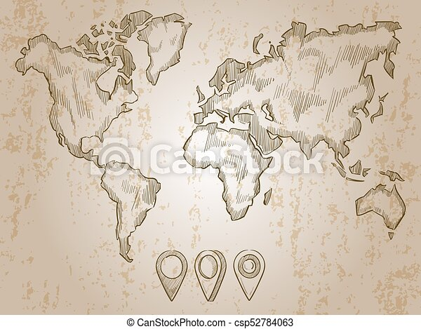Vintage hand drawn world map and doodle pins world map earth vintage hand drawn world map and doodle pins csp52784063 gumiabroncs Images