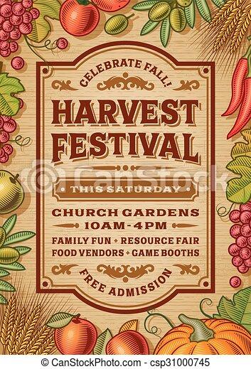 Vintage Harvest Festival Poster - csp31000745