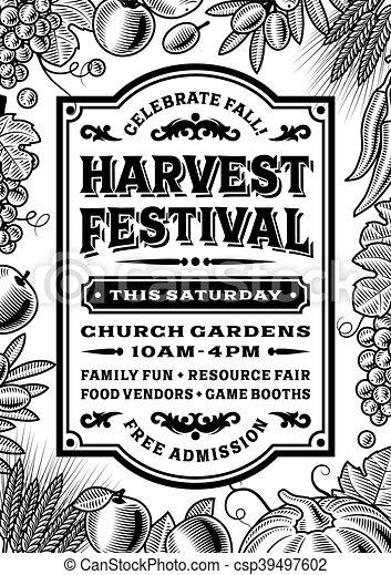 Vintage Harvest Festival Poster - csp39497602
