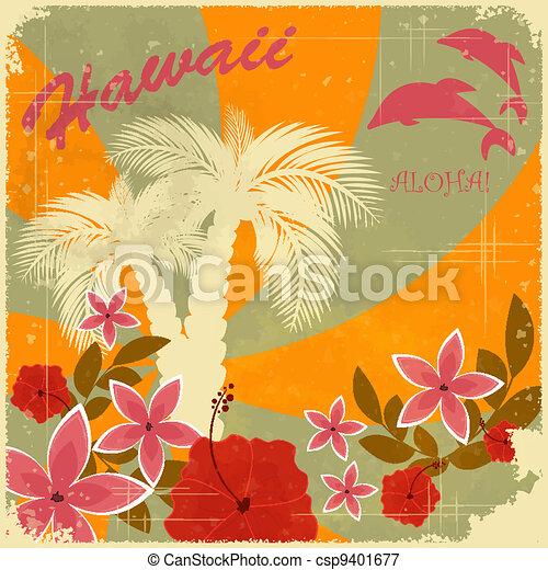 Vintage hawaiian postcard invitation to beach party vector vintage hawaiian postcard csp9401677 stopboris Choice Image