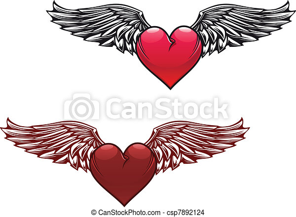 vintage heart with wings retro heart with wings for tattoo design rh canstockphoto com tattoo images heart with wings tattoo heart with wings designs