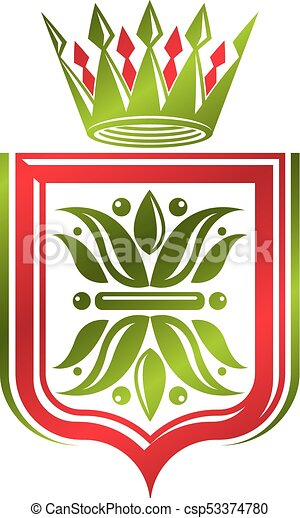 Vintage heraldic coat of arms created with imperial crown and lily flower royal symbol. Eco friendly product symbol, best quality theme illustration, defense shield. - csp53374780