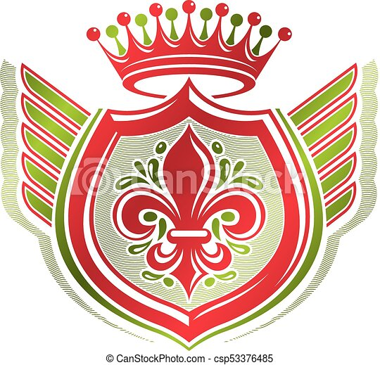 Vintage heraldic coat of arms created with imperial crown and lily flower royal symbol. Eco friendly product symbol, best quality theme illustration, winged defense shield. - csp53376485
