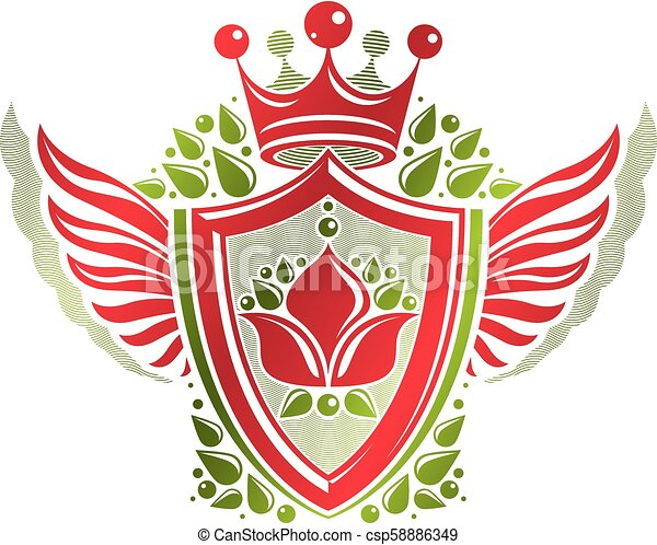 Vintage heraldic coat of arms created with imperial crown and lily flower royal symbol. Eco friendly product symbol, best quality theme illustration, winged defense shield. - csp58886349