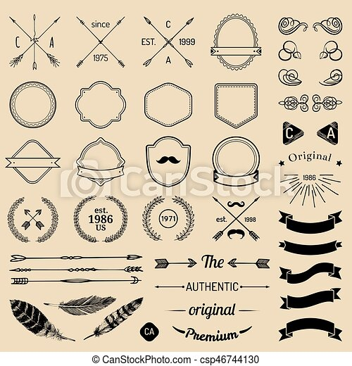 Vintage Hipster Logo Elements With Arrowsribbonsfeathers Laurels