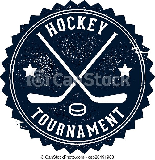 Vintage Hockey Tournament Stamp Vintage Style Hockey Tournament