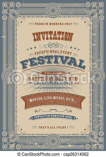 Vintage Holiday Festival Invitation - csp26314062