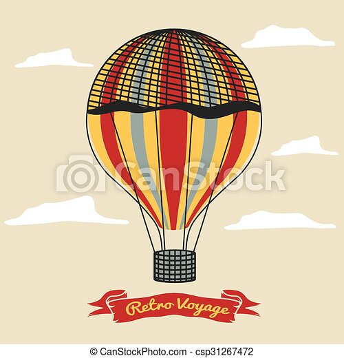 Vintage hot air balloon in the sky with clouds - csp31267472
