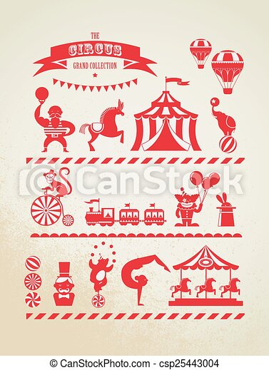 Vintage Huge Circus Collection With Carnival Fun Fair Vector Icons And Background