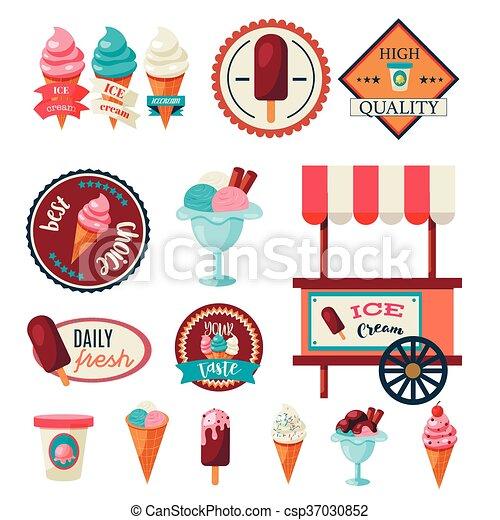 Vintage ice cream label set template - csp37030852