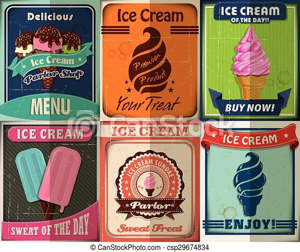 Vintage Ice Cream poster design set - csp29674834
