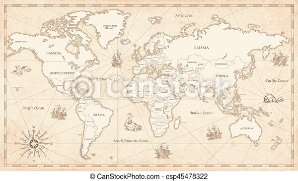 Vintage illustrated world map great detail illustration of the vintage illustrated world map csp45478322 gumiabroncs Choice Image