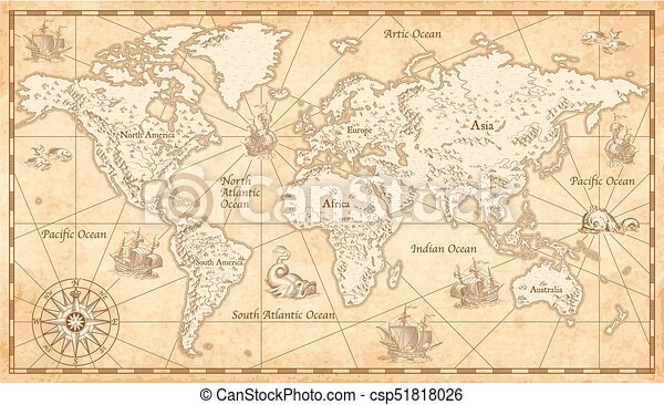 Vintage illustrated world map great detail illustration of the vintage illustrated world map csp51818026 gumiabroncs Image collections