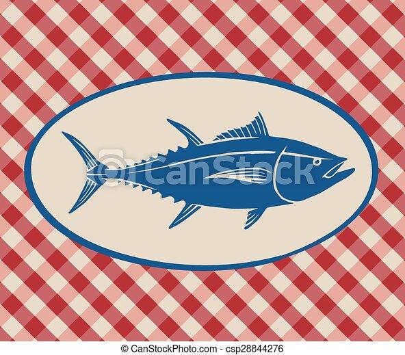 Vintage illustration of tuna fish - csp28844276