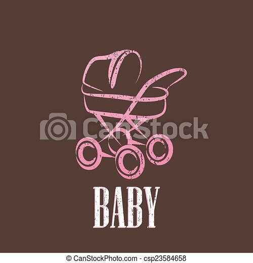 vintage illustration with a baby pram  - csp23584658