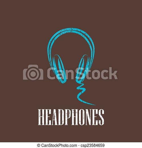 vintage illustration with a headphones - csp23584659