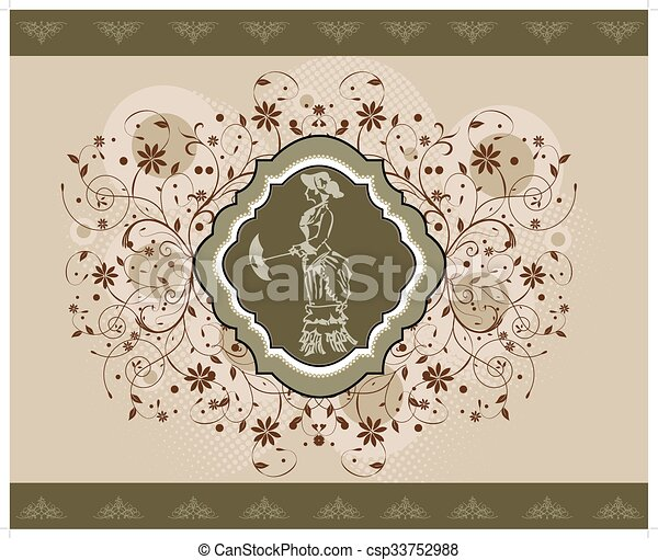 Vintage illustration with woman  - csp33752988