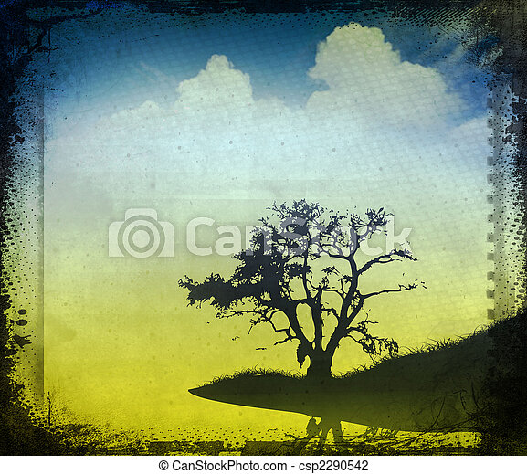 vintage image of a tree in the field - csp2290542