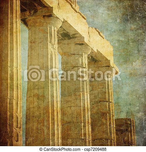 Vintage image of greek columns, Acropolis, Athens, Greece - csp7209488
