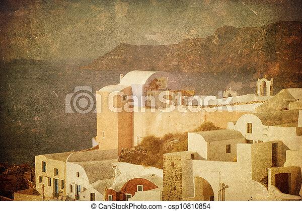 Vintage image of Oia village at Santorini island, Greece - csp10810854