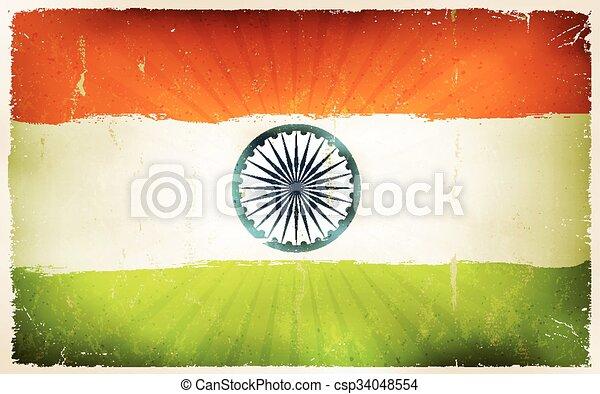 Vintage India Flag Poster Background - csp34048554