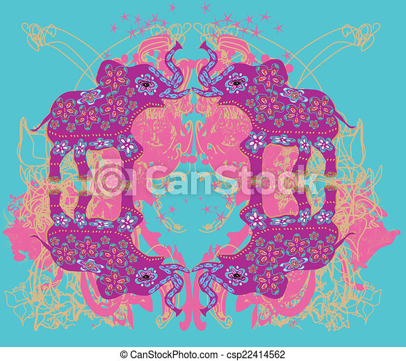 Vintage Indian ornament with an elephant - csp22414562