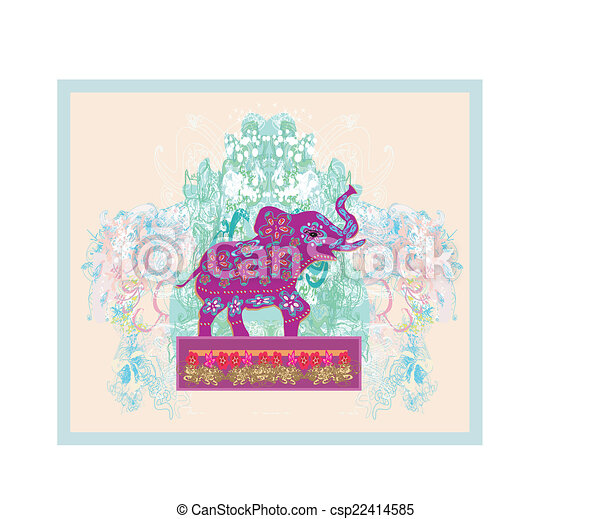 Vintage Indian ornament with an elephant - csp22414585