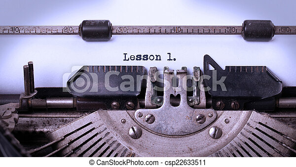 Vintage inscription made by old typewriter - csp22633511
